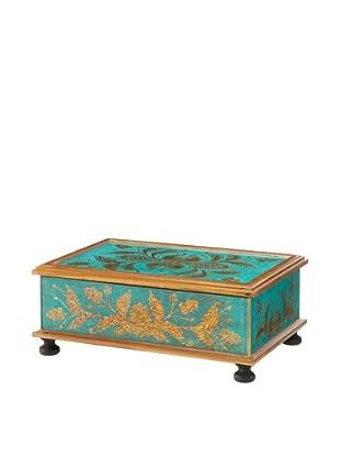 Rectangular Reverse-Painted Glass Hinged Box, Turquoise