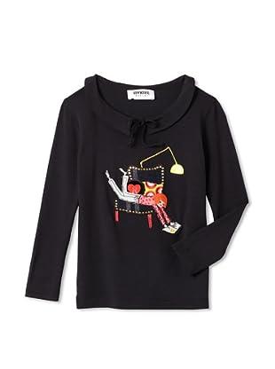 Sonia Rykiel Girl's Cardigan with Sonia Rykiel Print (Black)