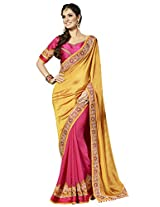 KVS FAB Gold Pink Two Tone Fancy Georgette Pallu Georgette Skirt Saree