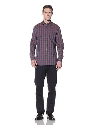 Hart Schaffner Marx Men's Spade Pocket Woven Shirt (Rust)