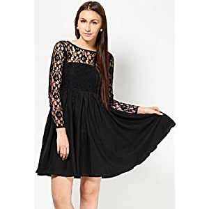 Full Sleeves Self Pattern Black Dress