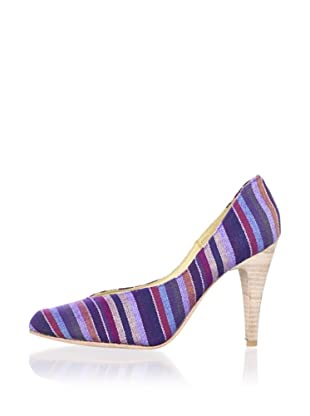 Fiel Women's Carmen Artisinal Stacked Wood Heel (Purple Striped)