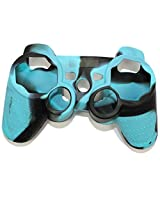Stong Silicon Protective Case Cover For Sony Playstation Ps3 Wireless Remote Controller Blue + Black