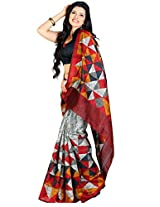 Samskruti Sarees Raw Silk Saree With Blouse Piece (Spas-31 -Grey)