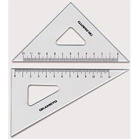 【クリックで詳細表示】面取・目盛付三角定規_規格(240mm)_厚さ(3mm):【製図用品】:210-0125: DIY・工具