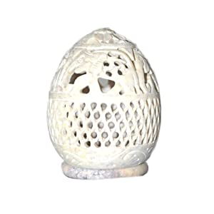 Rajasthan emporium and handicrafts Hand Cut Meshed Soap Stone Tealight Candle Holder (White)