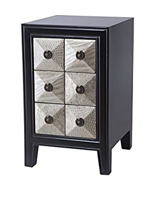Luxury Home Embossed Skin Chairside Chest, Black