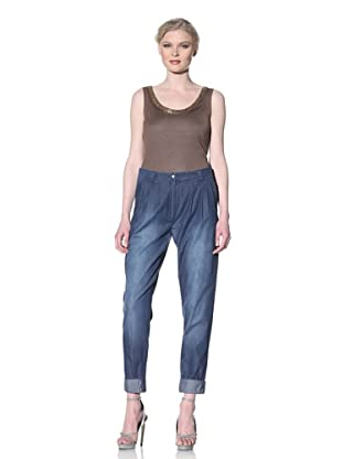 Moschino Cheap and Chic Women's Denim Pant with Rolled Hem (Blue Denim)