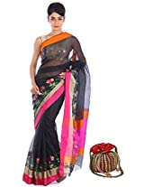 Geroo kota sillk saree with border flower & zari with contrast striped blouse piece