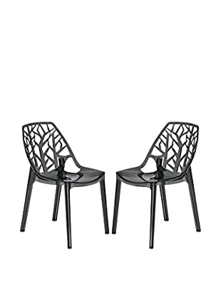 LeisureMod Set of 2 Modern Cornelia Dining Chairs, Transparent Black