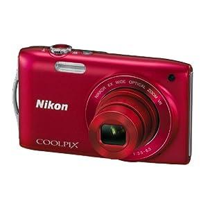Nikon S3300 Compact 16 MP Digital Camera-Red