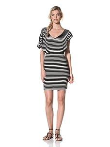 Luna  Women's Bryce V-Neck Striped Dress (Black/White Stripe)
