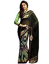 Inddus Women Multi Colored Georgette Embroiderd Saree.