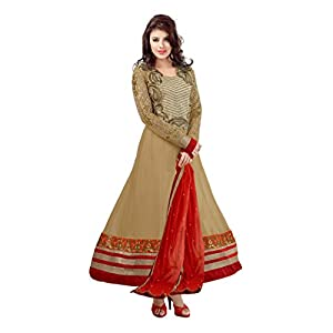 Fabdeal Light brown Colored Georgette Embroidered Semi Stitched Anarkali Suit