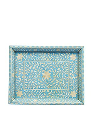 Bethel International Bone Hand Inlaid Tray, Blue