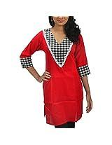 Riiti Designs Red Cotton V-Neck Kurti for Women