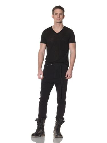 Cotte D'Armes Men's Drop Crotch Terry Sweat with Tuxedo Strip (Navy)