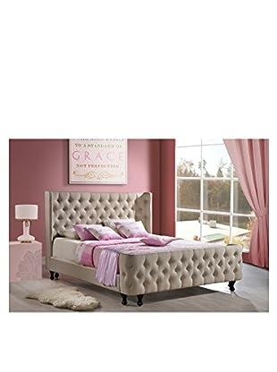 Baxton Studio Ipswich King Size Linen Modern Platform Bed With Bench, Light Beige