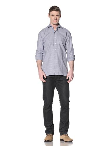 Orian Men's Spread Collar Washed Regular Fit Sport Shirt (Blue Overcheck)