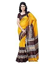 Diva Fashion Crepe Silk Saree With Blouse Piece (Dfs508B -Yellow)