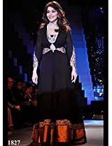 1022-Madhuri Dixit In Designer Black Anarkali Suit Walk At IIJW