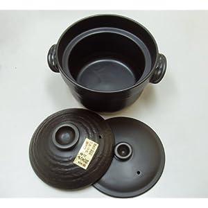 [ガスで] ごはん土鍋 3合炊き(二重蓋) 大黒 万古焼 [炊飯]