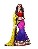 Brijraj Women's Unstitched Resham Lehenga (122107408000_Pink & Blue_Free Size)