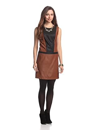 JB by Julie Brown Women's Clemmie Colorblock Faux Leather Shift (Tan/Black)