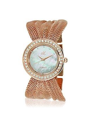 Adee Kaye Women's 20-LRG Rose/Mother-of-Pearl Brass Mesh Watch