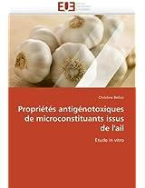 Proprietes Antigenotoxiques de Microconstituants Issus de L''Ail (Omn.Univ.Europ.)