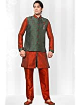 Maroon Art Silk Readymade Kurta with Aligarh Pant