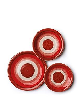 Servizio Tavola 18 Pezzi Circle rosso