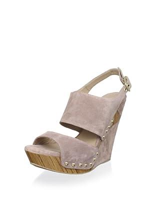 Pura López Women's Nailhead Platform Wedge Sandal (Crosta Cipria)