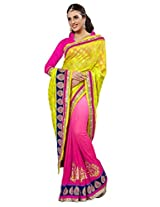 Manvaa Multi-Color Embroidered Casual Wear Viscose Saree With Blouse Piece