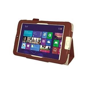 【Homu Homu】Acer Iconia W3-810専用【全10色】PUレザーケース PUレザーカバー レザーケースレザーカバースタンド機能付 ペンホルダー付 エイサー Windows 8 (ブラウン)(35-5)