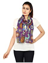 Anekaant Purple Floral Print Cotton Women's Scarf