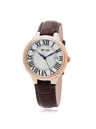 SO&CO New York Women's Madison Metal Watch, Brown/Silver