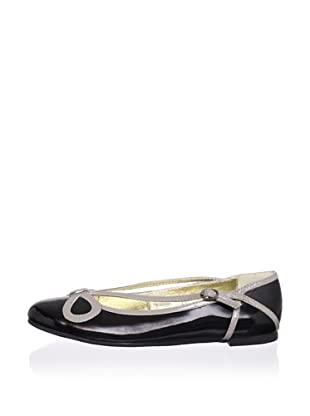 Pliner Jrs Cathy Bow Flat (Black/Grey Patent)