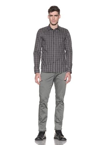Comune Men's Edmond Plaid Shirt (Dark Stone)
