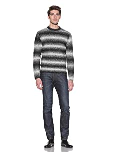French Connection Men's Top Dyed Bluebird Sweater (Black/White)