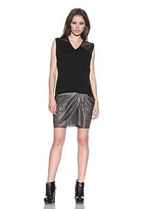 under.ligne by Doo.Ri Women's Leather Panel Tee (Black)