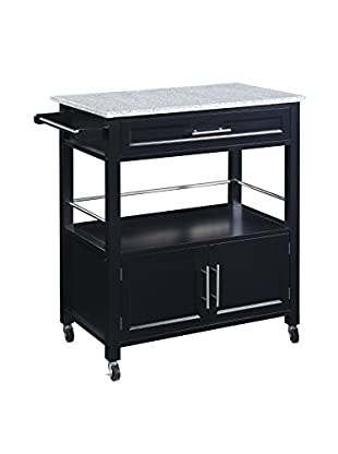 Linon Home Décor Cameron Kitchen Cart with Granite Top, Black