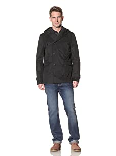 Eubiq Men's Hooded Raincoat (Black)