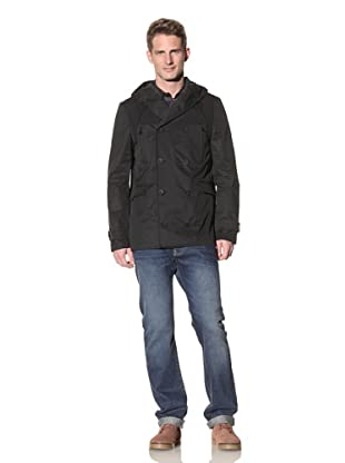 Eubiq Men's Hooded Raincoat (Black)