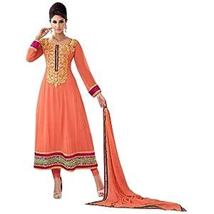 Orange Faux Georgette with Resham,Zari,Border hand Work Unstitched Anarkali Salwar Kameez Suit