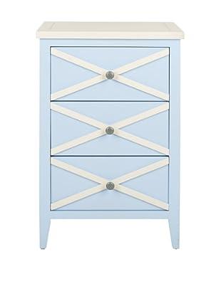 Safavieh Sherrilyn 3-Drawer Side Table, Light Blue/White