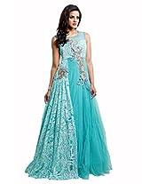 Admyrin Women's Aqua Net Embroidered Gown