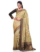 Meghdoot Women's Traditional Kanchipuram Spun Silk Saree Beige and Black Colour Sari