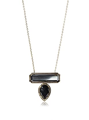 Melanie Auld Pyrite/Black Onyx Bar Drop Necklace