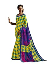 sareez Yellow & Blue Color Bhagalpuri Silk Saree